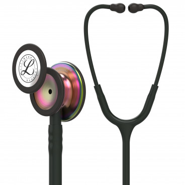 Littmann Classic III Stethoscope 5870, Rainbow-Finish Chestpiece, black stem and headset, Black Tube
